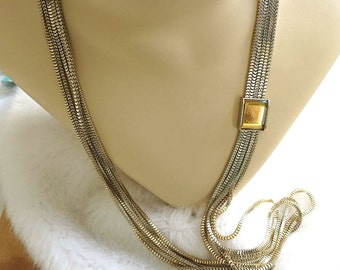 Vintage Long Box Chains Necklace or Belt with Topaz Mirrored Glass Stone