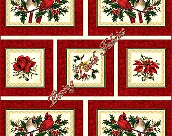"""13 Blocks - Northcott """"Christmas Traditions"""" 5510M Cardinals Floral Roses Cotton Fabric Panel 24"""" x 44"""""""