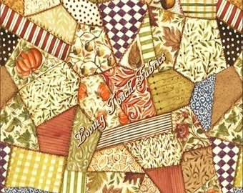 """Windham Fabrics """"Let Us Give Thanks"""" Fall Thanksgiving Patchwork Pumpkins  Cotton Fabric 1/2 Yd 18"""" X 44"""""""