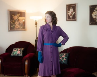Vintage 1950s Dress - Darling Purple Gabardine 50s Day Dress with Tab Collar and Shirtwaist Cut