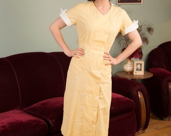 Vintage 1930s Dress - Crisp Lemon Yellow and White Cotton 30s Double Breasted Housedress