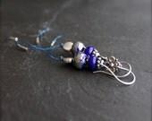 Cobalt Blue, Silver Dangle Drop Earrings - Rustic Irish Linen Fiber Thread, Handmade Glass, Grey Boho Jewellery