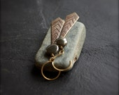 Grey Pyrite, Etched Brass Dangle Earrings - Oxidized Brown Patina, Textured Gold Chevron, Arrow Point, Boho Stone Jewellery