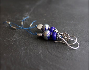 Cobalt Blue, Silver Dangle Drop Earrings - Rustic Irish Linen Fiber Thread, Handmade Glass, Grey Boho Jewellery