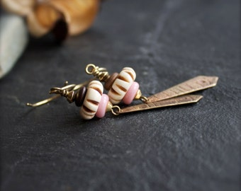 Etched Brass Dangle Drop Earrings - Brown Wood, Cream Carved Bone, Pink Glass, Tribal Boho Jewellery