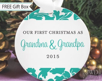 Personalized Grandparent Gift Grandparent Ornament Our First Christmas as Grandma & Grandpa - Valencia Pattern  - Item# VAL-GG-O