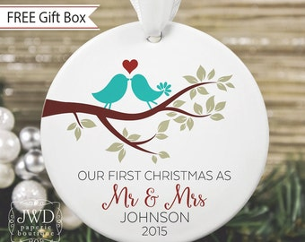 Our First Christmas as Mr and Mrs Ornament Personalized Newlywed Gift Love Bird Ornament Couples Gift - Item# LBB-MM