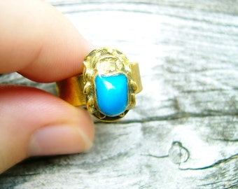 Turquoise Blue Inlaid Brass Vintage Egyptian Scarab Beetle Ring Hand Crafted Artisan Adjustable Jewellery