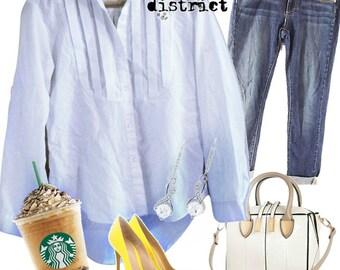 214 - Vintage 70s White Tuxedo Front Blouse - Size S