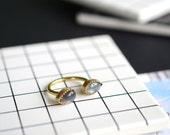 Labradorite open ring, brass, gold, bezel, statement, cocktail, teardrop, pear // AURA OPEN RING