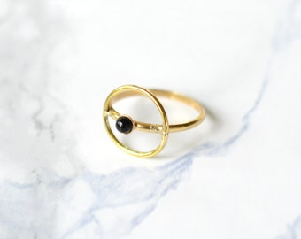 Halo Ring, onyx, brass, gold, thin, dainty, delicate, brass, siver