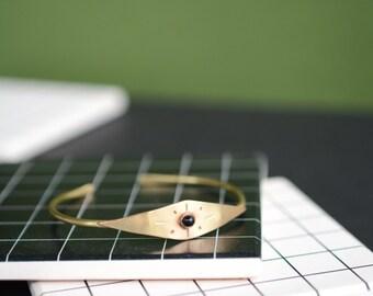 cuff, bracelet, onyx, brass, sunburst, thin, stacking, wire // HELIOS CUFF
