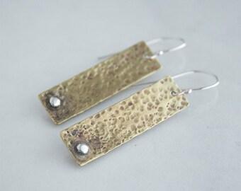 Hammered Brass Earrings - Rustic Jewelry - Mixed Metal Earrings - Hammered Brass - Metalsmith Earrings - Gift Idea Women - Brass Anniversary
