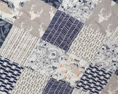 tribal baby quilt, baby boy quilt- woodland baby quilt, navy baby bedding, navy baby quilt, elk baby quilt, gray baby quilt