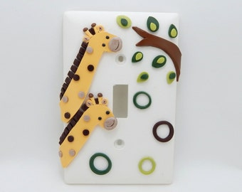 Giraffe Light Switch Cover or Outlet Cover - Jungle Safari Nursery Decor, Childrens Safari Room Decor - Clay - Toggle Cover or Rocker Cover