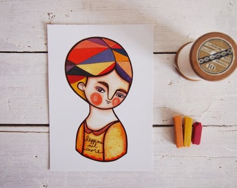 Autumn postcard, orange fall illustration