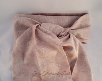 Equestrian Stock, Woman's Riding Stock, Man's Victorian Tie, Cotton Fabric, Pinkish Beige, Blush Pink, Feather Pattern