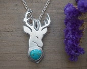 Pilot Mountain Turquoise And Deer Pendant Handmade Sterling Silver