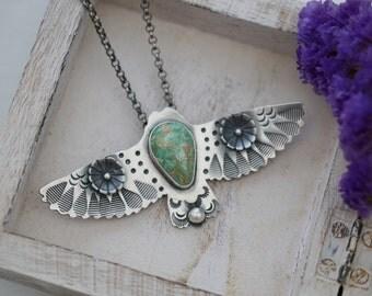 Bird In Flight Pendant With Broken Arrow Variscite Sterling Silver Handmade