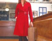 Scarlet Red Cashmere and wool coat with buckle made-to-order