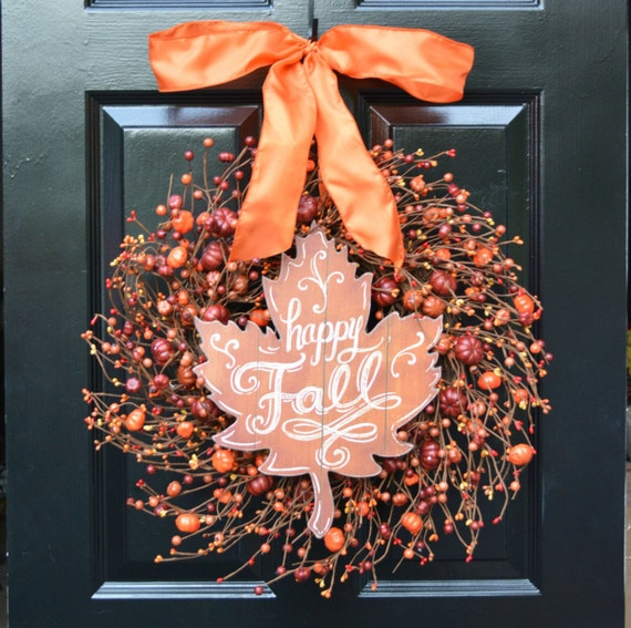 FALL WREATH SALE Pumpkin Pie Fall Wreath,Thanksgiving Wreath Berry Wreath, Fall Decor, Thanksgiving Decor Xl 19 and 22 Inch Sizes Available
