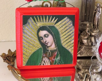 Vintage GUADALUPE Chromo Wood Shrine -  A colorful and sparkly beauty