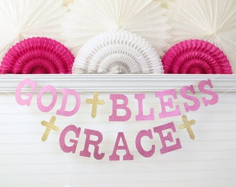 Glitter God Bless Banner with Name - 5 inch Letters with Cross - Christening Banner Dedication Baptism Banner Baby Shower Decor Girl Baptism