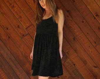 Black Crushed Velvet Mini Babydoll Dress - Vintage 90s - S M