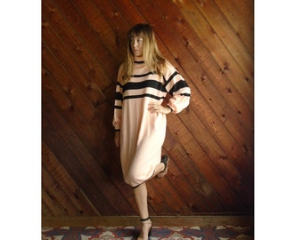 Neon Peach Knit Striped Sweater Dress - Vintage 80s - M/L