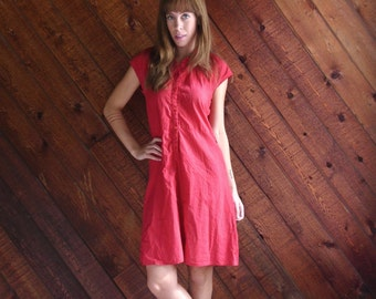Red Polka Dot Short Sleeve Mini Circle Dress - Vintage 50s - XS S