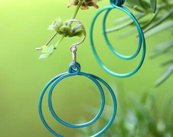 Turquoise blue loops, hoop earrings, hammered circle earrings, turquoise blue earrings