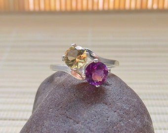 Amethyst Citrine Ring Sterling Silver Double Round February November Birthstone Made To Order