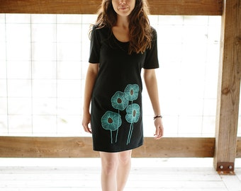 tshirt dress, black dress, black cotton dress, summer dress, turquoise screenprint