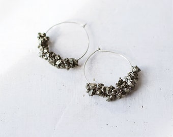 Pyrite Hoop Earrings / Sterling silver and Pyrite Gemstone earrings /  Hoop Earrings / Bohemian Jewelry