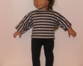 18 Inch Doll, Striped Blouse, Black Leggings, Cotton Pants, Modern Outfit, Black Gray Shirt, American Made, Girl Doll Clothes