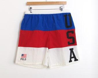Ralph Lauren Polo Sport 90s USA FLAG Shorts Size M