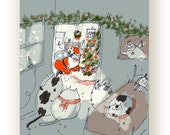 Funny Christmas Card - Cat - Twas the Night Before - Cat Christmas Card