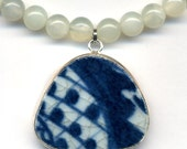 Jade Necklace, Porcelain Necklace , Old Porcelain Necklace, Blue and White  Necklace, One of a kind necklace by AnnaArt72