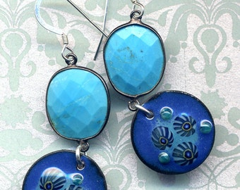 Enamel Turquoise Lizard Earrings, Sterling Turquoise Earrings, 925 Silver Earrings, Blue Shell Earrings, Sea Side Earrings