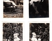 4 vintage Photo Lot Little Girl Christmas Doll Tree Mother Rocking Chair 1937 snapshots