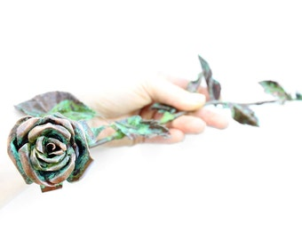 Rose Sculpture Handmade Out Of Copper 24 Inches Metal With Patina Flower Sculptures Long Stem Full Rose 7th Anniversary Gift - READY TO SHIP