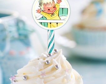 Baby Boy Party Circles, Cupcake Toppers, Retro Vintage Tags, Baby Shower, Scrapbooking,