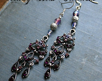 Lavender and Plum Purple Crystal Chandelier Earrings