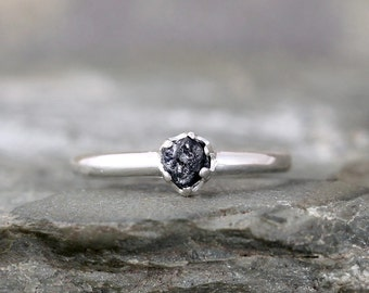 Blue Sapphire Ring -  Raw Uncut Blue Sapphire - Sterling Silver - Sapphire Engagement Ring  -  Blue Raw Sapphire - September Birthstone Ring