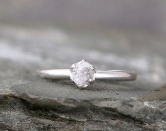 Raw Diamond Engagement Ring - Conflict Free Diamond - Sterling Silver - Stacking Rings - Raw Gemstone - April Birthstone - Promise Ring