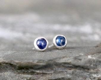 Blue Sapphire Earrings - Sterling Silver Stud Style - Rustic Round - September Birthstone - Freeform Blue Gemstone Earrings - Made in Canada