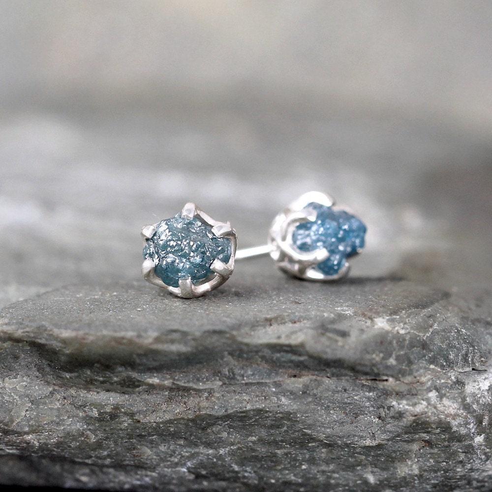 raw blue diamond earrings sterling silver vintage by