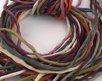 Hand Painted Silk Cord - Hand Dyed Silk - Silk Ribbon - Jewelry Supplies - Wrap Bracelet - Craft Supplies - 2mm Silk Cord Item No.379