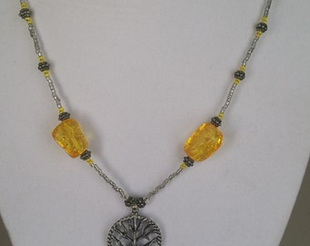 Grey Seed Bead Necklace with Amber Accents and Tree of Life Pendant
