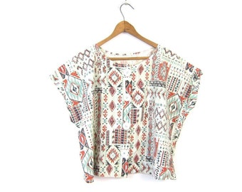 TRIBAL Print Cropped Top 80s Cotton Boho Shirt Button Up TShirt Loose Fit Cap Sleeve Blouse Southwestern Hipster Hipster Tee Vintage S M L